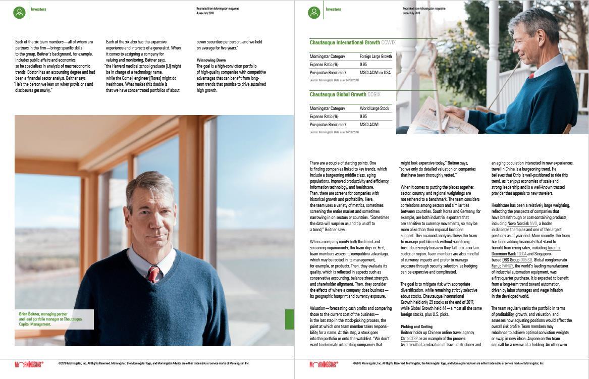 Morningstar Magazine Features Chautauqua Capital