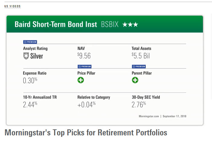 Morningstar highlights BSBIX, BAGIX as top picsk for retirement