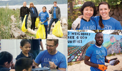 Photo collage of various Baird associates at volunteer events