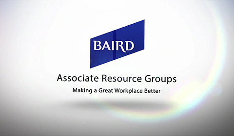 Video Thumbnail: White Background, [Baird logo] Associate Resource Groups | Making a Great Workplace Better