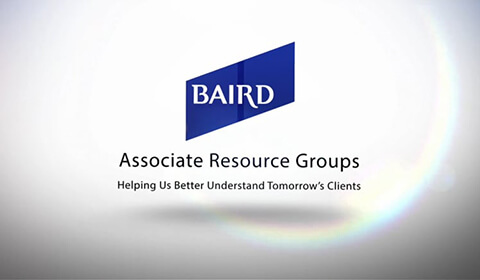 Video Thumbnail: White background, [Baird logo] Associate Resource Groups | Helping Us Better Understand Tomorrow's Clients