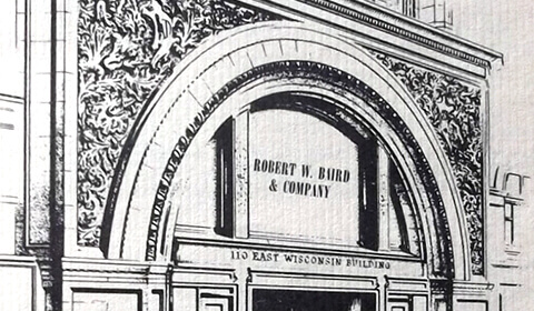 Drawing of entrance to Robert W. Baird & Company's office location at 110 East Wisconsin Avenue