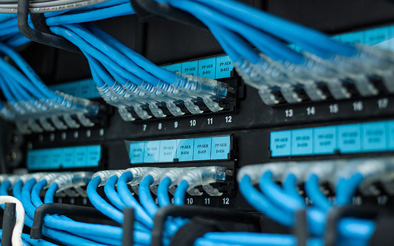 Photograph: Close-up of cable plugged into server