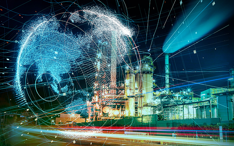 Abstract image of security/big data over industrial building