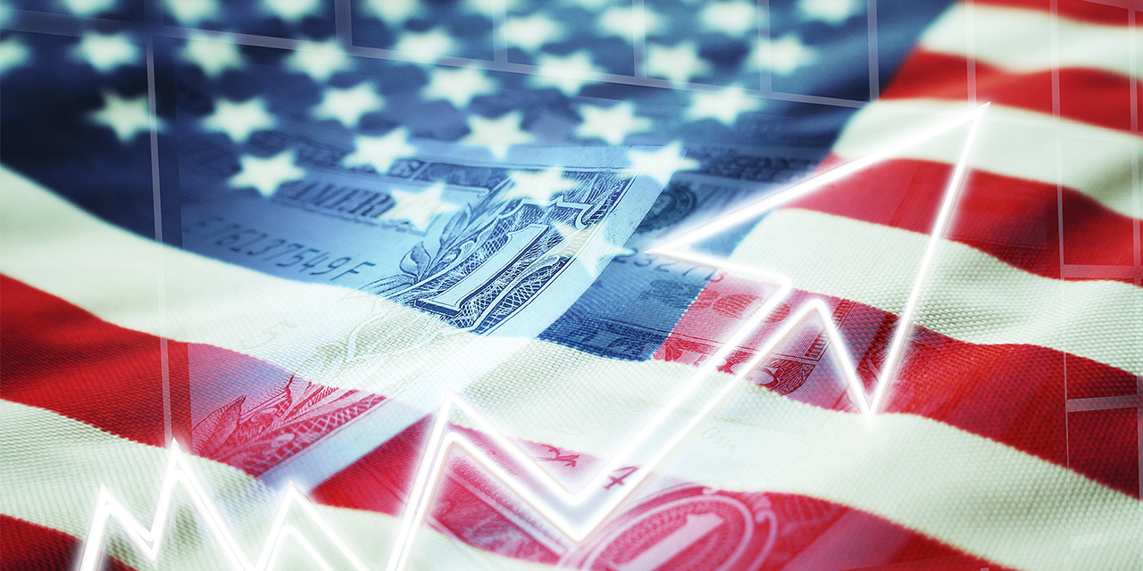 American flag with a dollar bill image overlayed.