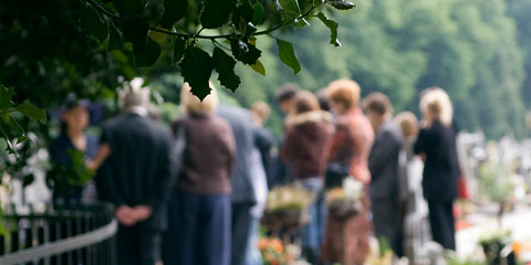 Group of people at a cemetary