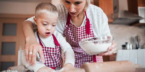 Mother baking with son