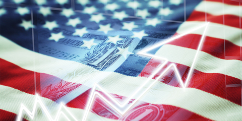 American flag with a dollar bill image overlay.