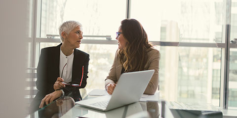 Female advisor speaking with client.