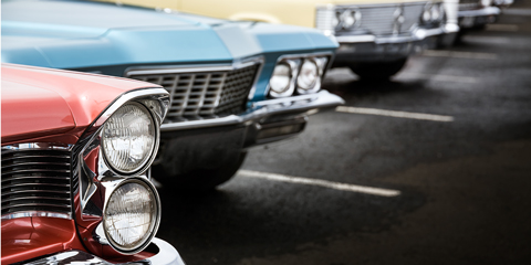 A row of classic cars.