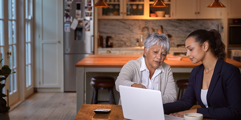 Woman financial advisor consulting a client at home