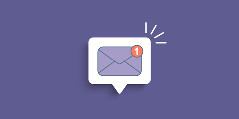 Purple envelope - new mail notification.