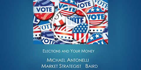 Type:Elections and Your Money, Michael Antonelli, Market Strategist, Baird | Visual: Blue gradient with image of illustrated vote pins and a play button overlayed
