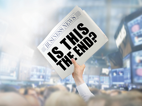 Newspaper with 'Is this the End?' headline
