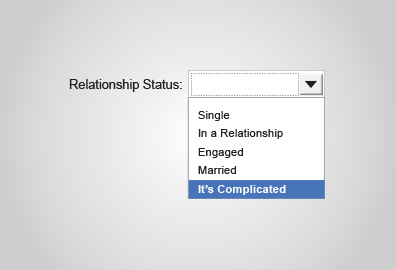 A relationship form field drop-down selector.