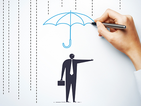Illustration of Man Under Umbrella