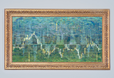 Framed financial chart