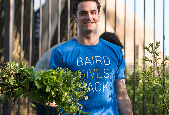Portrait of a Baird Associte during a Baird Gives Back event