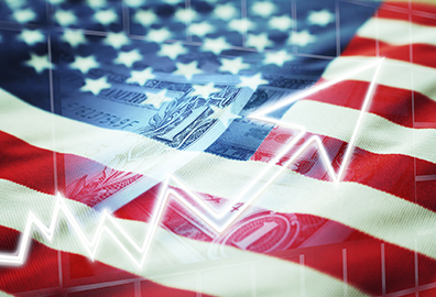 Financial chart super-imposed over an American Flag