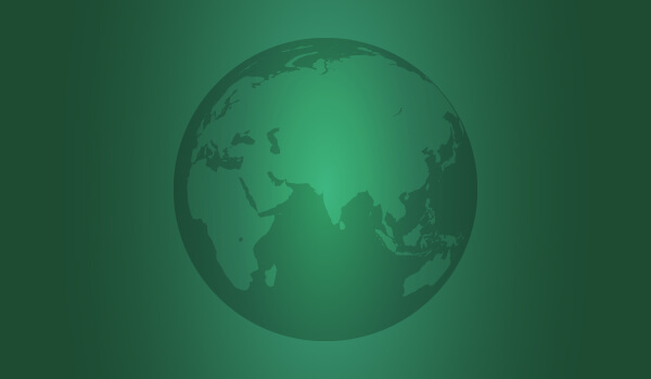 Illustration of black and white globe on green gradient background.