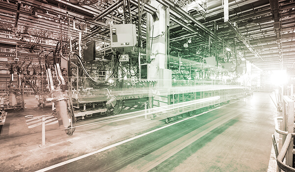 Photograph of empty automation floor in an industrial plant.