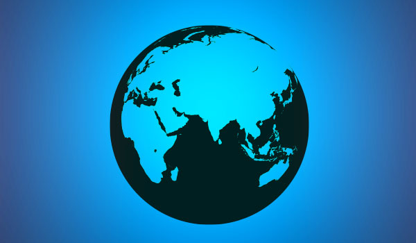 Illustration off globe overlayed upon a blue gradient.