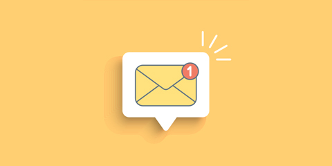 Email icon with yellow background.
