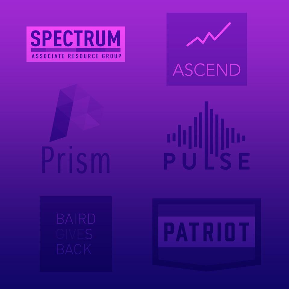 Photograph Baird associate resource group logos with purple colorwash.