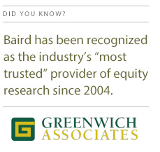 Baird Most Trusted Provider of Equity Research