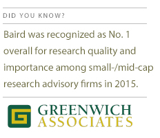 Baird was recognized as No. 1 overall for research quality and importance among small-/mid-cap research advisory firms in 2015.