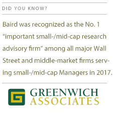 "Baird was recognized as the No. 1 ""important small-/mid-cap research advisory firm among all major Wall Street and middle-market firms serving small-/mid-cap Managers in 2017"