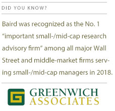 "Baird was recognized as the No. 1 ""important small-/mid-cap research advisory firm among all major Wall Street and middle-market firms serving small-/mid-cap Managers in 2018"