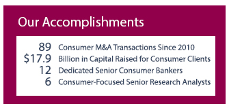 Consumer Investment Banking Accomplishments