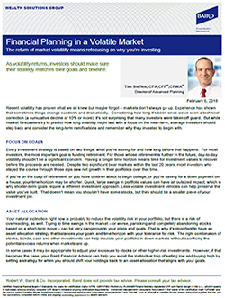 Financial Planning in a Volatile Market