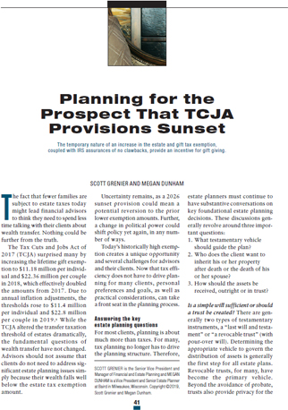Planning for the Prospect that TCJA Provisions Sunset