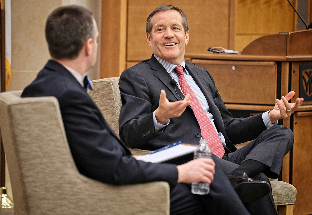 Taft (right) having a candid conversation, moderated by Wake Forest University School of Business professor Matthew Philips on April 2 in North Carolina.