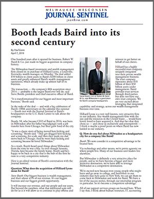 Milwaukee Journal Sentinel Executive Q&A: Steve Booth