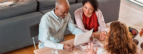 Couple discusses estate planning.