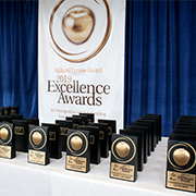 Photo of awards on table.
