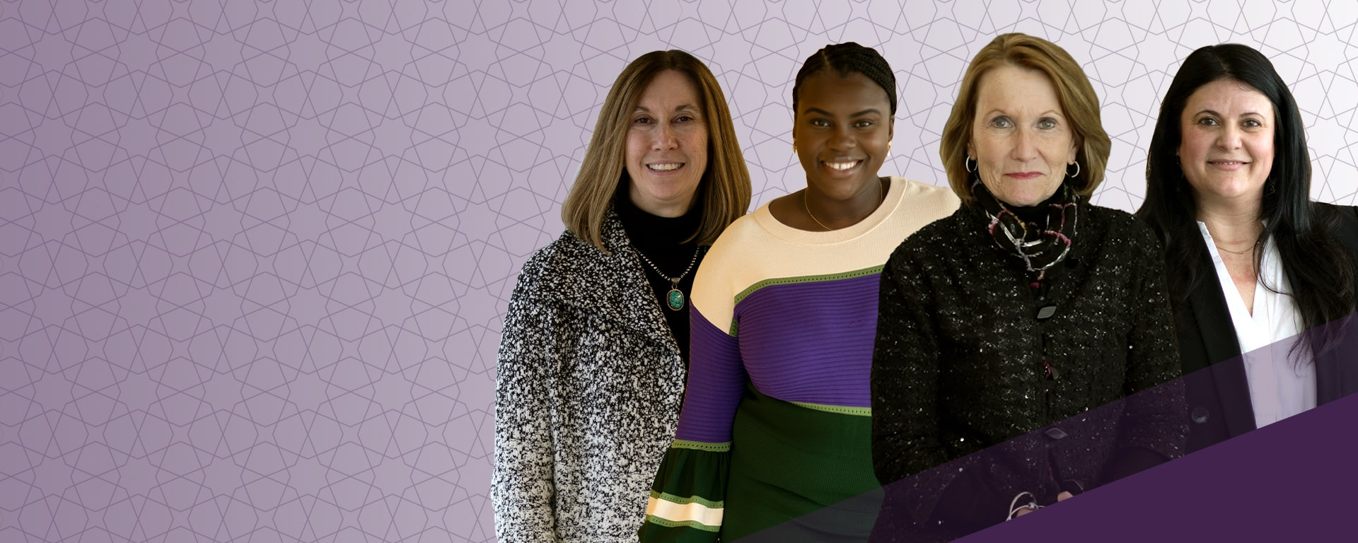 Composite photo featuring: Karen Heinz, Isioma Nwabuzor, Mary Ellen Stanek and Arias