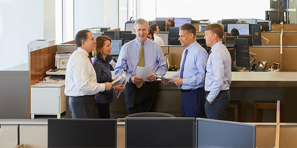 Photograph of Jay Schwister, Mary Ellen Stanek, Duane McAllister, Lyle Fitterer and Warren Pierson standing in semi-circle conversing in an office setting