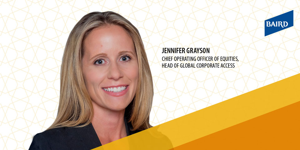 Composite photo of Jennifer Grayson with star background and yellow cutouts.
