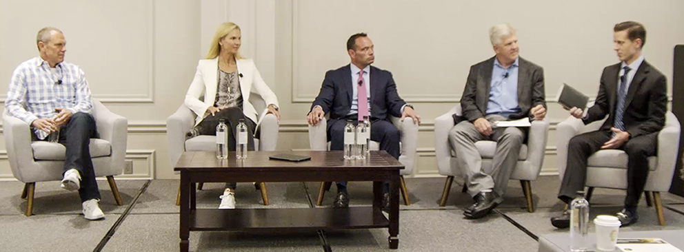 From left to right: Carl Daikeler, CEO of Beachbody; Tess Roering, CCO of Core Power Yoga; Chris Rondeau, CEO of Planet Fitness; Bruce Edwards, COO of Crossfit; Jonathan Komp, Baird Senior Equity Research Analyst.