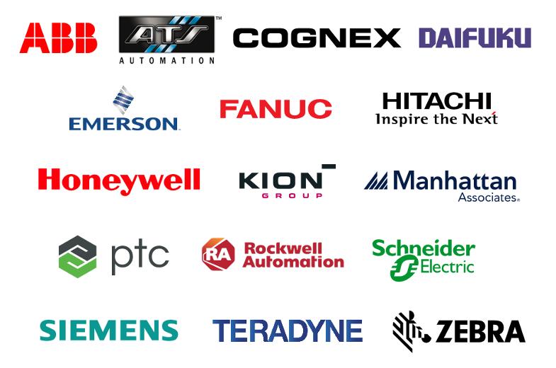 Company logos for: ABB, ATS Automation, Cognex, Daifuku, Emerson, FANUC, Hitachi, Honeywell, KION Group, Manhattan Associates, PTC, Rockwell Automation, Schneider Electric, Siemens, Teradyne, Zebra
