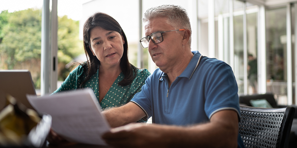 Couple reviewing paperwork